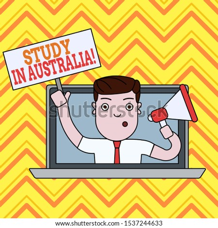 Conceptual hand writing showing Study In Australia. Business photo text going into foreign country order complete your studies Man Speaking Through Laptop into Megaphone Plate with Handle.