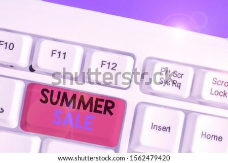 Conceptual hand writing showing Summer Sale. Business photo showcasing time when a store sells products at much lower prices than usual.