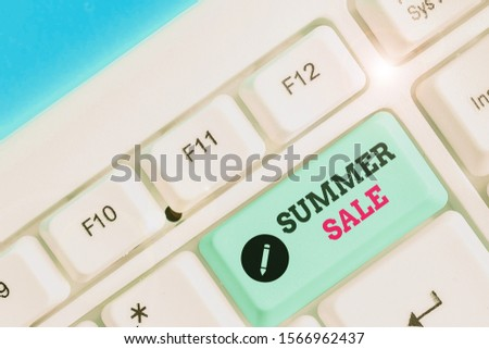 Conceptual hand writing showing Summer Sale. Business photo text time when a store sells products at much lower prices than usual.