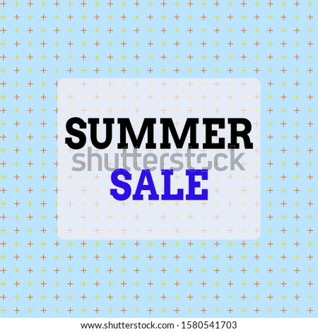 Conceptual hand writing showing Summer Sale. Business photo text time when a store sells products at much lower prices than usual Infinite Endless Aligned Two Tone CrossStitch Plus Sign Pattern.