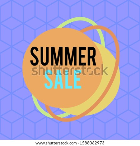 Conceptual hand writing showing Summer Sale. Business photo text time when a store sells products at much lower prices than usual Asymmetrical format pattern object outline multicolor design.