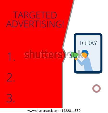 Conceptual hand writing showing Targeted Advertising. Business photo text Online Advertisement Ads based on consumer activity Geometrical background man chest holding megaphone speech bubble.