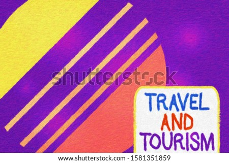 Conceptual hand writing showing Travel And Tourism. Business photo text Temporary Movement of People to Destinations or Locations Cosmic planet pattern design paper cut Circle Background.
