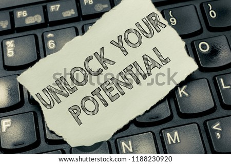 Conceptual hand writing showing Unlock Your Potential question. Business photo text Maximize your Ability Use God given gift