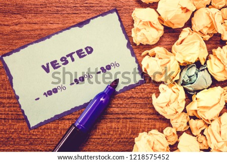 Conceptual hand writing showing Vested 100 90 80. Business photo showcasing Eligible for Retirement Benefit based on years of Service