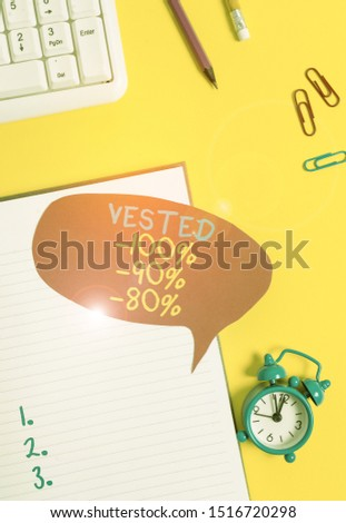 Conceptual hand writing showing Vested 100 Percent 90 Percent 80 Percent. Business photo showcasing Eligible for Retirement Benefit based on years of Service Empty red bubble paper on the table with