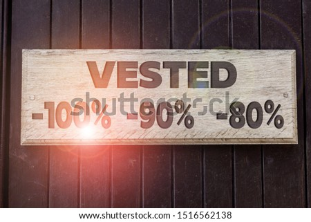 Conceptual hand writing showing Vested 100 Percent 90 Percent 80 Percent. Business photo text Eligible for Retirement Benefit based on years of Service Empty white board for advertising. White space