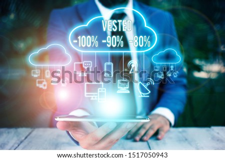 Conceptual hand writing showing Vested 100 Percent 90 Percent 80 Percent. Business photo text Eligible for Retirement Benefit based on years of Service Male wear formal work suit presenting