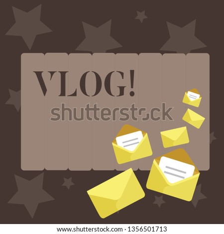 Conceptual hand writing showing Vlog. Business photo showcasing Entertaining multimedia self broadcasting news reporting stories Closed and Open Envelopes with Letter on Color Stationery.