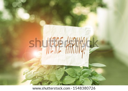 Conceptual hand writing showing We Re Hiring. Business photo text recently employ someone or pay him to do particular job Plain paper attached to stick and placed in the grassy land.