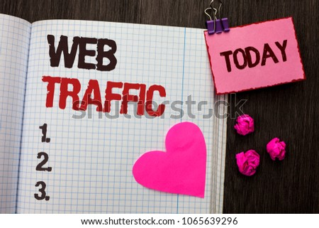 Conceptual hand writing showing Web Traffic. Business photo showcasing Internet Boost Visitors Audience Visits Customers Viewers written on Notebook Book on wooden background Today Heart. #1065639296