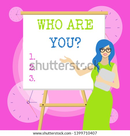 Conceptual hand writing showing Who Are You Question. Business photo text asking about someone identity or demonstratingal information.