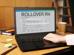 Conceptual hand written text showing rollover ira