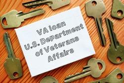 Conceptual hand written text showing VA loan U.S. Department of Veterans Affairs