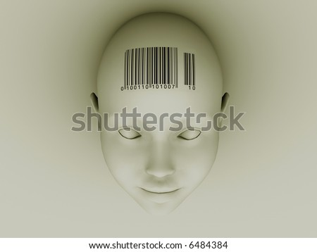 Conceptual head with barcode on forehead - 3d render - stock photo