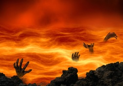 Conceptual hell with wicked souls tormented in a burning lake of fire. Religious theme concept.