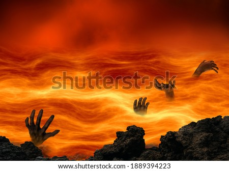 Conceptual hell with wicked souls tormented in a burning lake of fire. Religious theme concept. Stock photo ©