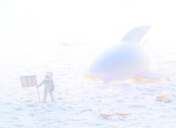 Conceptual high key photo of a white astronaut near the broken spaceship made of eggshell exploring snow planet. White space concept.