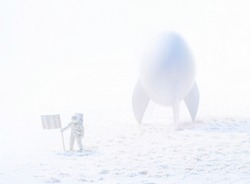 Conceptual high key photo of a white astronaut near the spaceship made of eggshell exploring snow planet. White space concept.