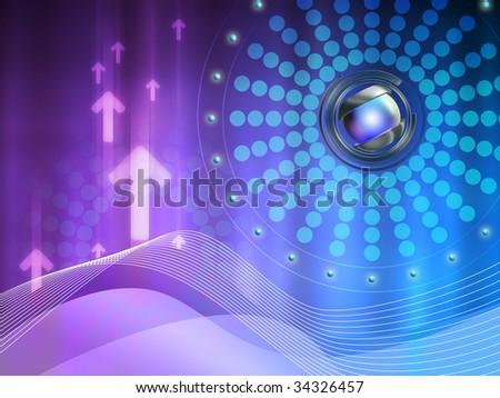 Conceptual high technology background. Digital illustration.