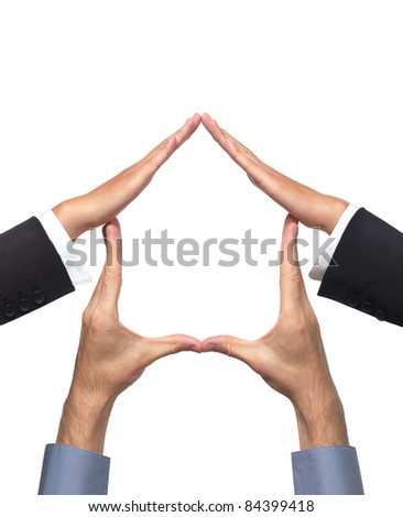 Conceptual house symbol made by hands of a woman and a man. Isolated sign on white background.