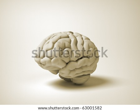Conceptual human brain - 3d render illustration - stock photo