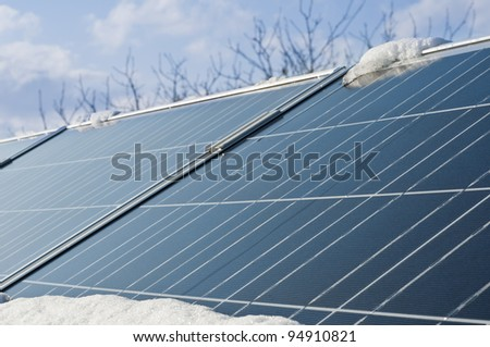 conceptual idea of energy limited during winter of photovoltaic panels
