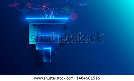 Conceptual illustration digital technology. Hanging smart phone, tablet, laptop. Porting programs to mobile platforms. development of cross-platform software for desktop and mobile devices.