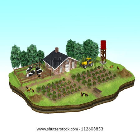 Conceptual illustration image of a farmland on a piece of land