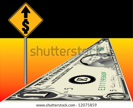 Conceptual illustration of a dollar road to financial success.