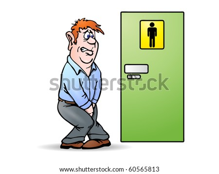 Conceptual illustration of a man need a pee waiting in front of bathroom sign