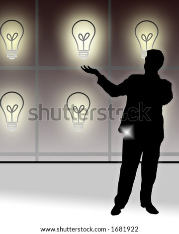 Conceptual illustration of a man presenting his choices of ideas.