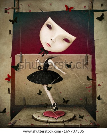 Conceptual illustration of dancing girl with  mask and  heart