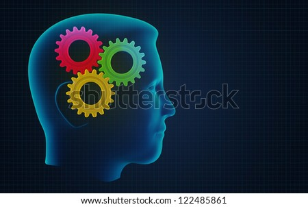 Conceptual illustration of human brain in work