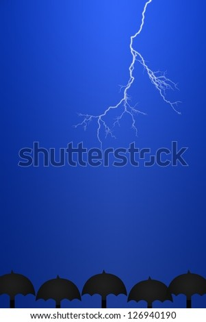 Conceptual illustration of lightning on a plane background