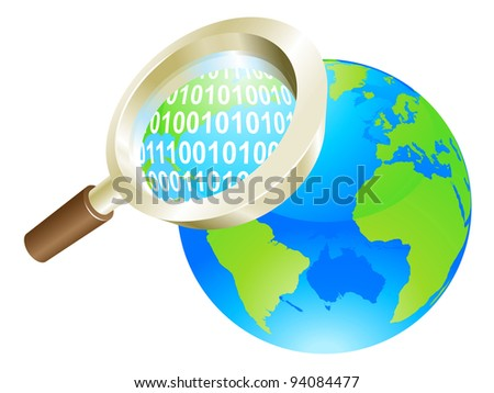 Conceptual illustration of magnifying glass binary data world globe