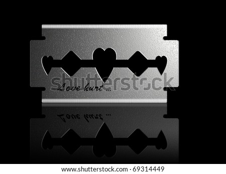 conceptual illustration of razer whit heart shape and caption Love hurt,suitable for Valentine day