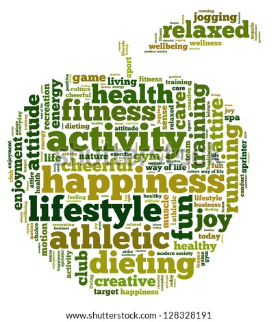 Conceptual illustration of tag cloud containing words related to healthy lifestyle in the shape of an apple. Also available as vector.