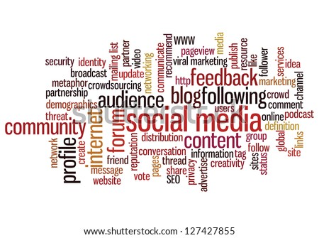 Conceptual illustration of tag cloud containing words related to social media, marketing, blogs, social networks and Internet. Also available as vector.
