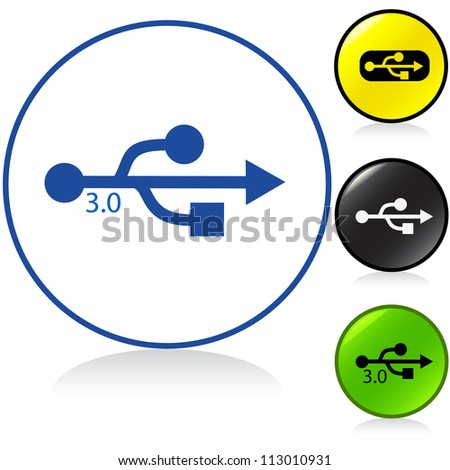 Conceptual illustration of usb, usb 3 symbol in round button. Proposed colors.