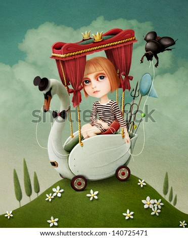 Conceptual illustration or poster. Girl travels on  Swan.