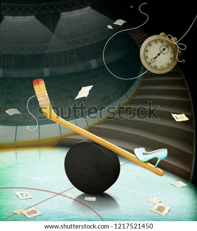 Stock Photo Conceptual illustration or poster with puck, hockey stick and fairy tale Cinderella.