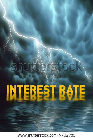 Conceptual illustration: Rent or mortgage payment problems / interest rates - stock photo