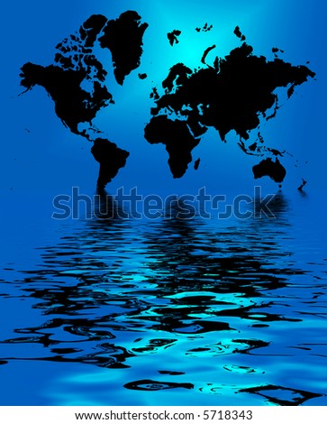 conceptual illustration silhouette of world map good for business background or climate change
