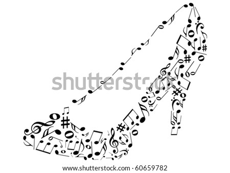 Conceptual illustrations of a shoe with music notes