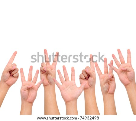 Conceptual image. A set of counting hand signs  isolated on white with a copy space.
