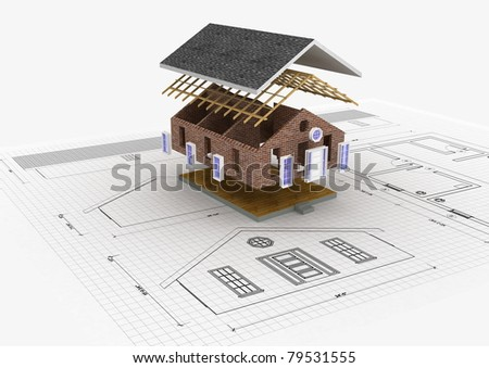 Conceptual image about building a house from ground to finish