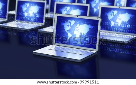 Conceptual image about how laptop computer connect to each other and communicate to other computer via network or internet