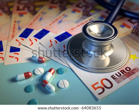 Conceptual image about money involved in the pharma industry. Digital illustration.