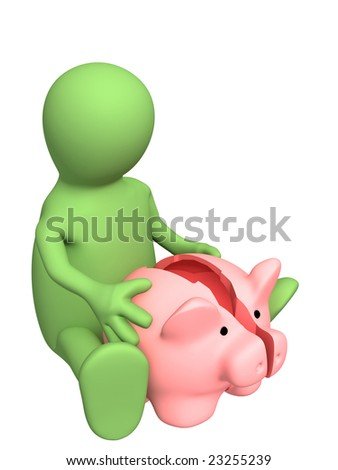 Conceptual image - broken piggy bank